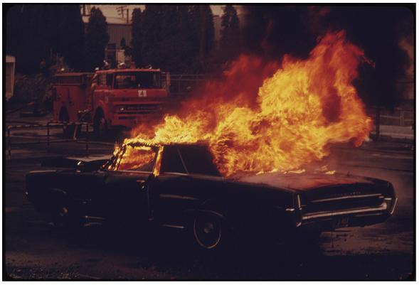 Fire car crash
